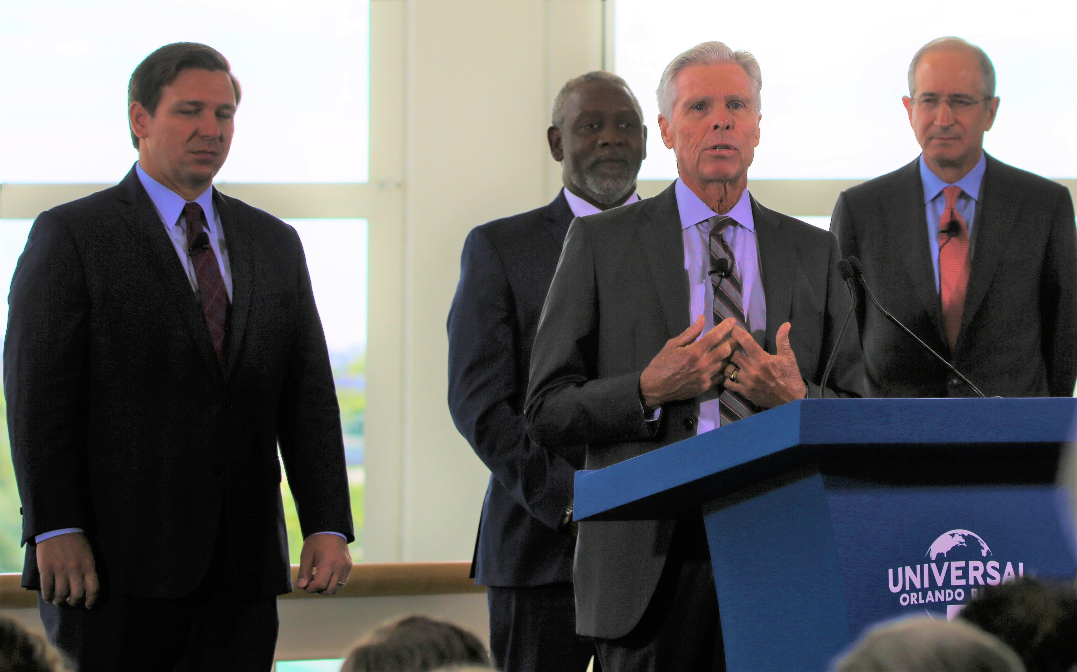 Tom Williams, Chairman and Chief Executive Officer for Universal Parks & Resorts, was joined by Florida Governor Ron DeSantis, Orange County Mayor Jerry L. Demings, and Brian L. Roberts, Chairman and Chief Executive Officer of Comcast Corporation to announce the building of Universal Orlando's 4th park, Epic Universe, at the Orange County Convention Center Thursday, August 1, 2019. (Photo by Willie David/Florida National News, FNN News Network)
