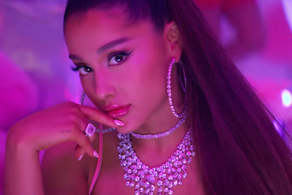 "Ariana Grande in her music video for ""7 Rings,"" released in January. Image: Ariana Grande/YouTube."