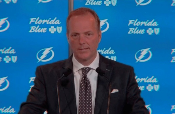 Tampa Bay Lightning head coach Jon Cooper answers questions during a press conference. Image: Tampa Bay Lightning/NHL.