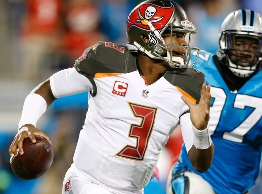Oct 10, 2016; Charlotte, NC, USA; Tampa Bay Buccaneers quarterback Jameis Winston (3) scrambles while Carolina Panthers defensive end Mario Addison (97) pursues in the third quarter at Bank of America Stadium. File photo: Jeremy Brevard/USA TODAY Sports.