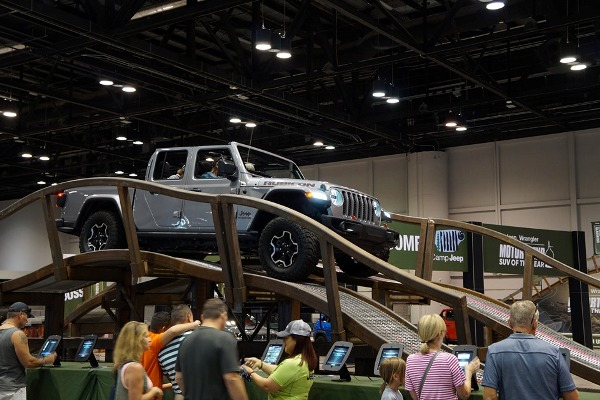 """Jeep brought back its annual test track, this year dubbed """"Camp Jeep,"""" for the 2019 Central Florida International Auto Show at the Orange County Convention Center. Photo: Leyton Blackwell/Florida National News."""