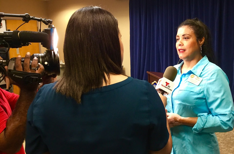 Orange Soil & Water Conservation District Supervisor Daisy Morales talks with the media after Orange County Mayor Jerry Demings' Hurricane Dorian press briefing at the Orange County Emergency Operations Center Tuesday, September 3, 2019. Photo: Willie David/Florida National News.