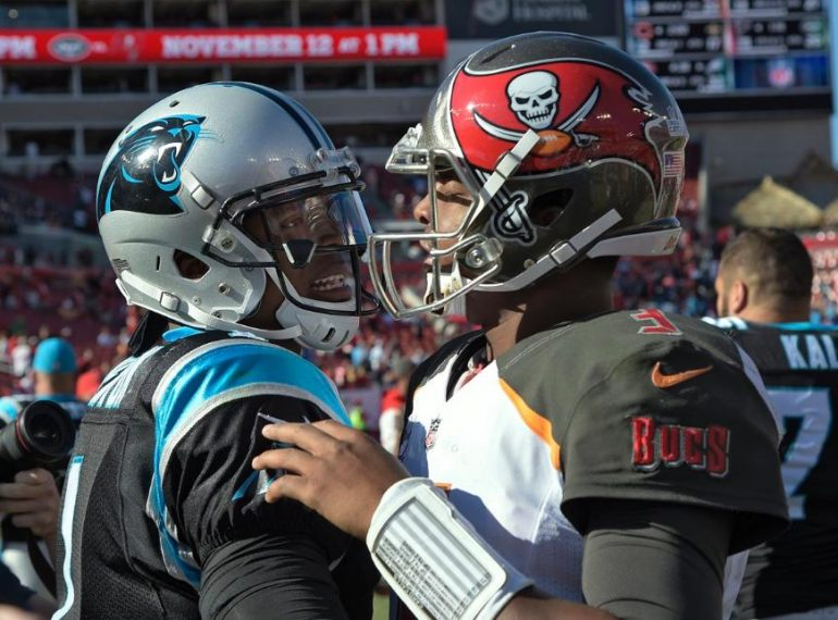 Tampa Bay Buccaneers quarterback Jameis Winston talks with Carolina Panthers quarterback Cam Newton after losing to the Panther at Raymond James Stadium in 2018. Photo: Phelan Ebenhack/AP.