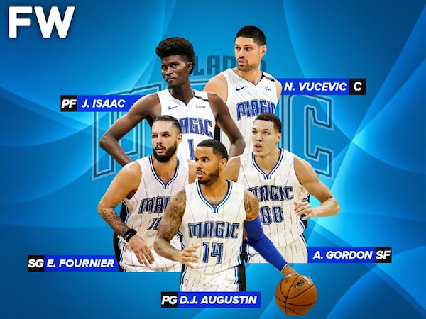Orlando Magic's main men (clockwise from top left): Jonathan Isaac, Nikola Vucevic, Aaron Gordon, D.J. Augustin and Evan Fournier. Image courtesy of Fadeaway World.