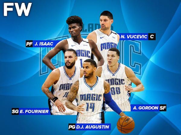 Orlando Magic's main men (clockwise from top left): Jonathan Isaac, Nikola Vucevic, Aaron Gordon, D.J. Augustin and Evan Fournier. Image courtesy of Fadeaway World.
