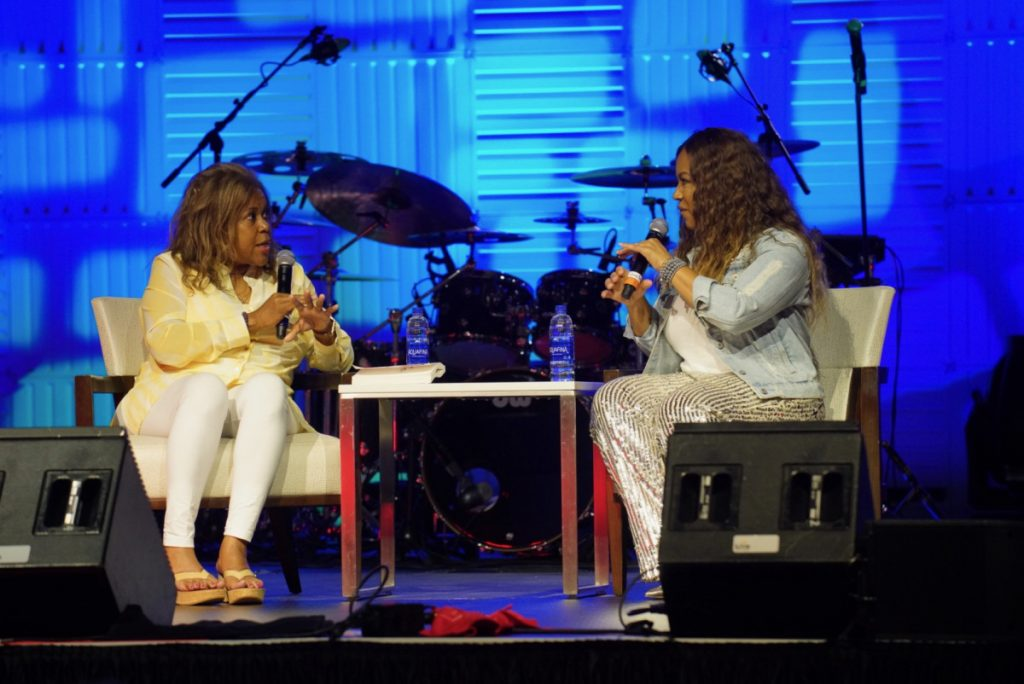 Tom Joyner Morning Show co-host Sybil Wilkes interviewed Erica Campbell during the Black & Positively Golden Presents Inspiration & Celebration Gospel Tour for the 2019 Allstate Tom Joyner Family Reunion at the Gaylord Palms Resort & Convention Center. Photo: J&K Photography.