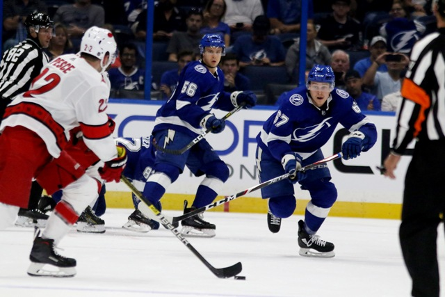 The Carolina Hurricanes face off against the Tampa Bay Lightning at Amalie Arena Tuesday. Photo: Doug Clifford/Tampa Bay Times.
