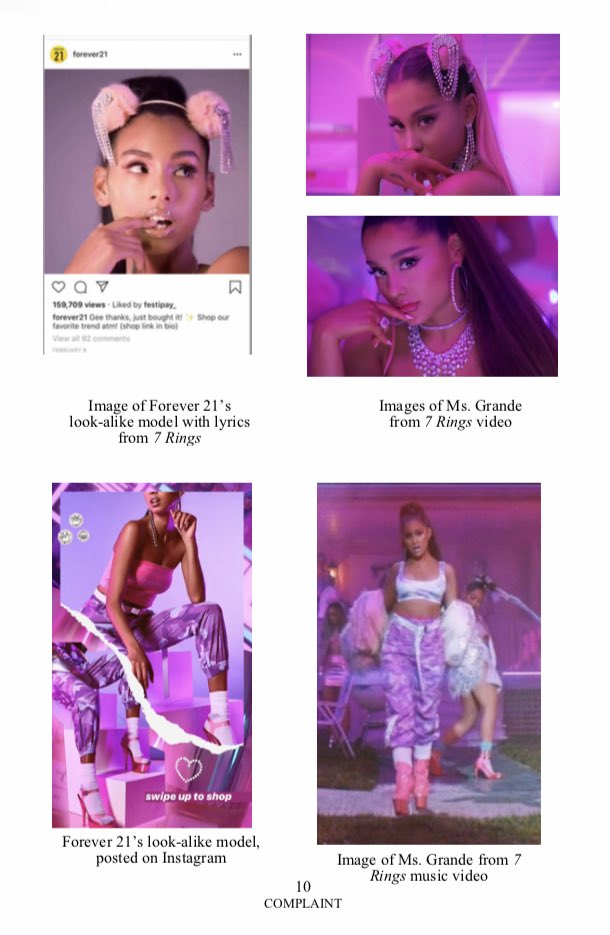 """These images, taken from Ariana Grande's legal complaint documents, show the side-by-side comparison between shots from Grande's """"7 Rings"""" video and Forever 21's lookalike model."""
