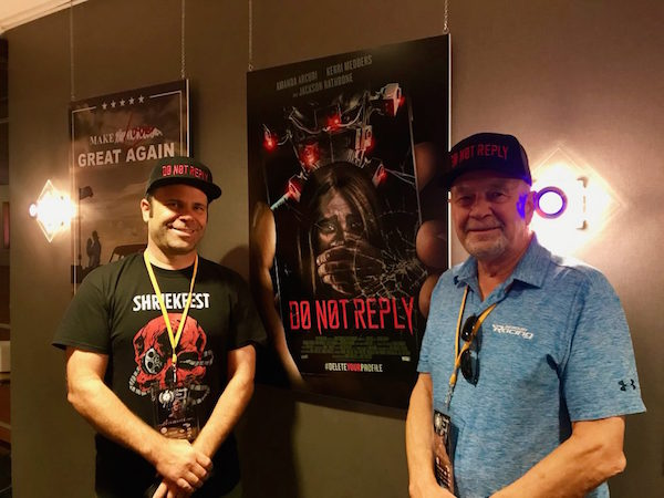 (l-r) Daniel and Walt Woltosz discuss their timely film 'Do Not Reply' at Cobb Plaza Cinema Cafe 12 Theaters in downtown Orlando during the 2019 Orlando Film Festival. Photo: Leyton Blackwell/Florida National News.