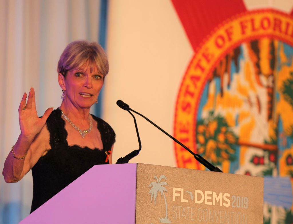 Florida Democratic Party Chair Terrie Rizzo made strong opening remarks during the Fighting for Florida Gala Saturday. Photo: Willie David/Florida National News.