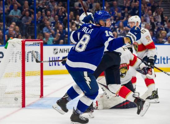 Tampa Bay Lightning winger Ondrej Palat scores a goal during the season opener against the Florida Panthers at Amalie Arena Thursday, October 3, 2019. Photo: Scott Audette/Getty Images.