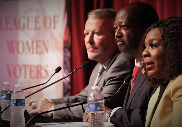 (l-r): Orlando Mayor Buddy Dyer, Orlando District 6 Commissioner Sam Ings and Aretha Simons debated the issues during an Orlando mayoral candidate debate at the Orlando Science Center October 15, 2019. Photo: Willie David/Florida National News