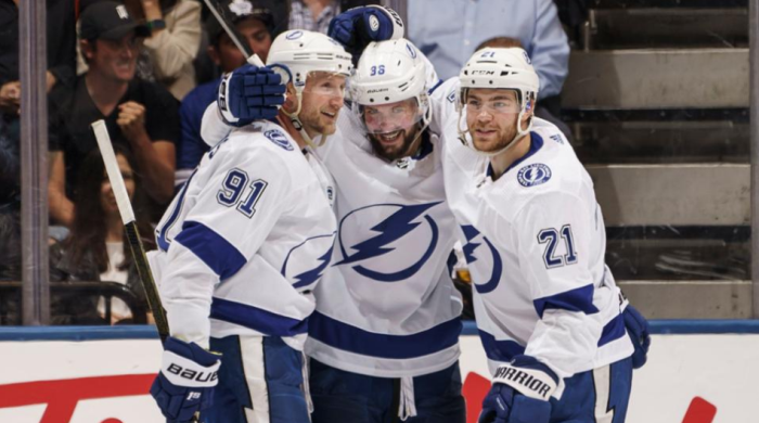 (l-r): Tampa Bay's Steven Stamkos, Nikita Kucherov and Brayden Point celebrate a goal against the Toronto Maple Leafs at Scotiabank Arena Thursday, October 10, 2019. Photo: NHL.