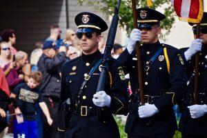 Orlando Police Department Honor Guard walks in the Veterans Day Parade. Photo: Leyton Blackwell/Florida National News.