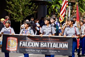 Falcon Battalion from East Rive High School walking in the parade. Photo: Leyton Blackwell/Florida National News.