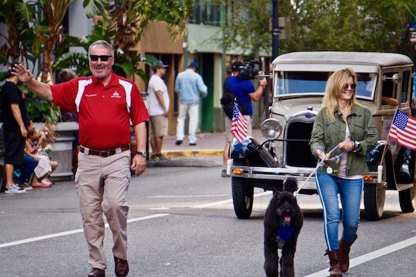 Orlando Mayor Buddy Dyer leads the Orlando Veterans Day Parade in downtown Orlando Saturday, November 9, 2019. Photo: Leyton Blackwell/Florida National News.