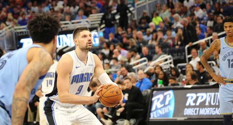 Nikola Vucevic makes a free throw against the Memphis Grizzlies at Amway Center Friday, November 8, 2019. Photo: Willie David/Florida National News.