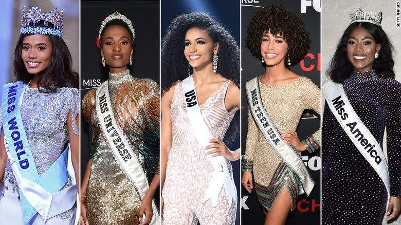 Miss World, Miss Universe, Miss USA, Miss Teen USA and Miss America for 2019. Photo: Getty Images