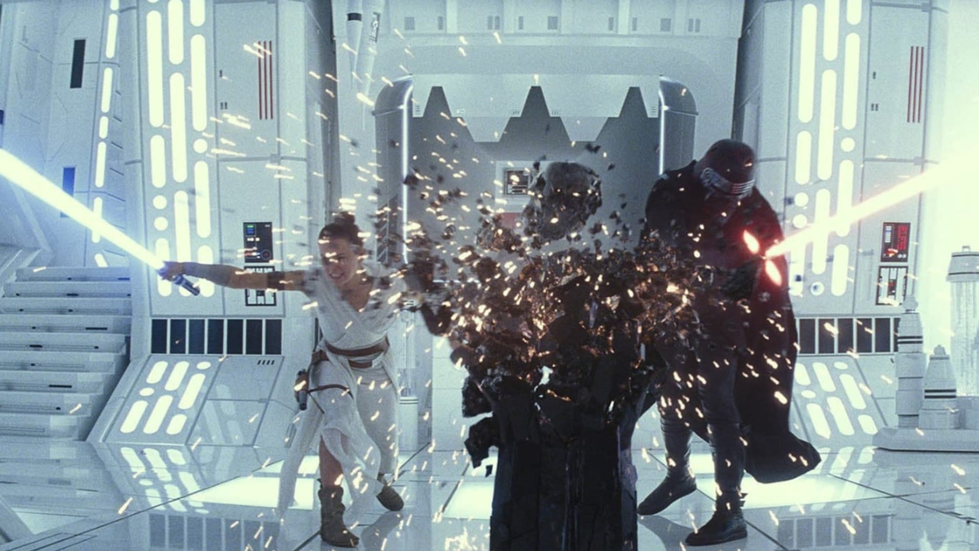 """Rey and Kylo Ren face off in """"Star Wars: The Rise of Skywalker."""" Courtesy of Disney"""