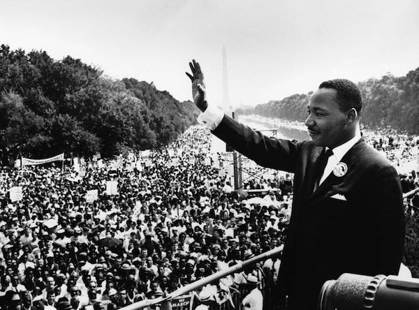 """Dr. Martin Luther King Jr. delivers his historic """"I Have a Dream"""" speech during the Civil Rights Movement's March on Washington. Photo: Hulton-Deutsch Collection/CORBIS."""