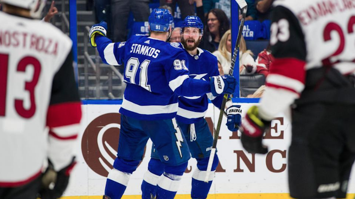 Tampa Bay Lightning's Steven Stamkos and Andrei Vasilevskiy celebrate a goal against the Arizona Coyotes at Amalie Arena Thursday, January 9, 2019. Photo: NHL.