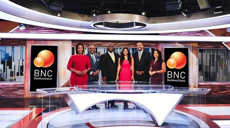 (l-r) Lauren McCoy, Kevan Smith, Fred Hickman, Laverne McGee, Anthony Amey and Rarione Mauriece will be the Black News Channel's weekday personalities. Photo courtesy of BNC.