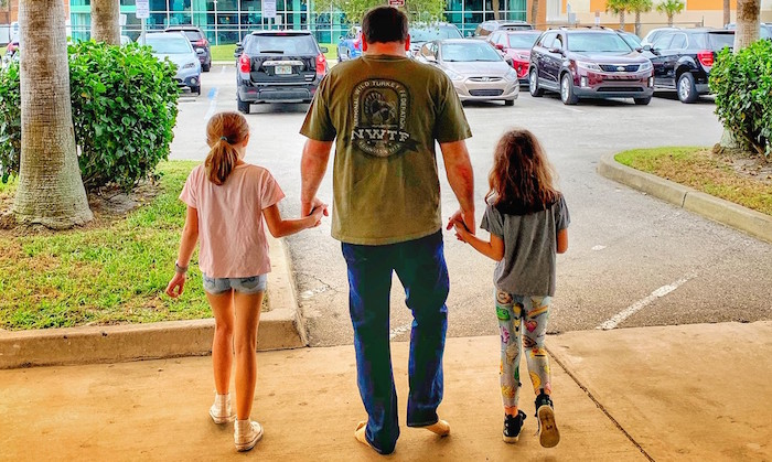 NASCAR driver Ryan Newman walks out of Halifax Medical Center with family on Wednesday, February 19, 2020 after being treated for injuries related to his horrific last-lap crash during the 62nd DAYTONA 500 two days before. Photo courtesy of Roush Fenway Racing.