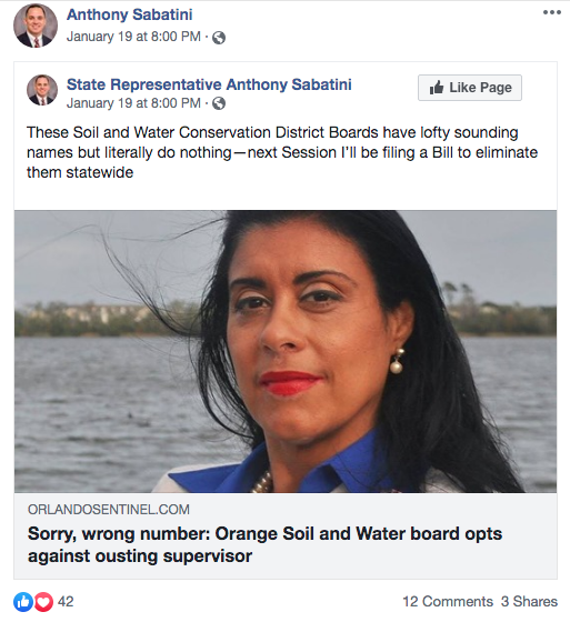 Image taken from State Representative Anthony Sabatini's Facebook account.