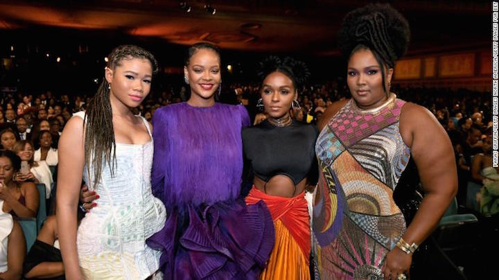 (l-r) Storm Reid, Rihanna, Janelle Monáe, and Lizzo attend the 51st NAACP Image Awards, Presented by BET, at Pasadena Civic Auditorium on Saturday in Pasadena, California. Photo: Getty Images for BET.