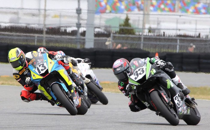 Racers bend the corner in their bid for the trophy during the 2019 Daytona 200. Photo: Willie David/Florida National News.