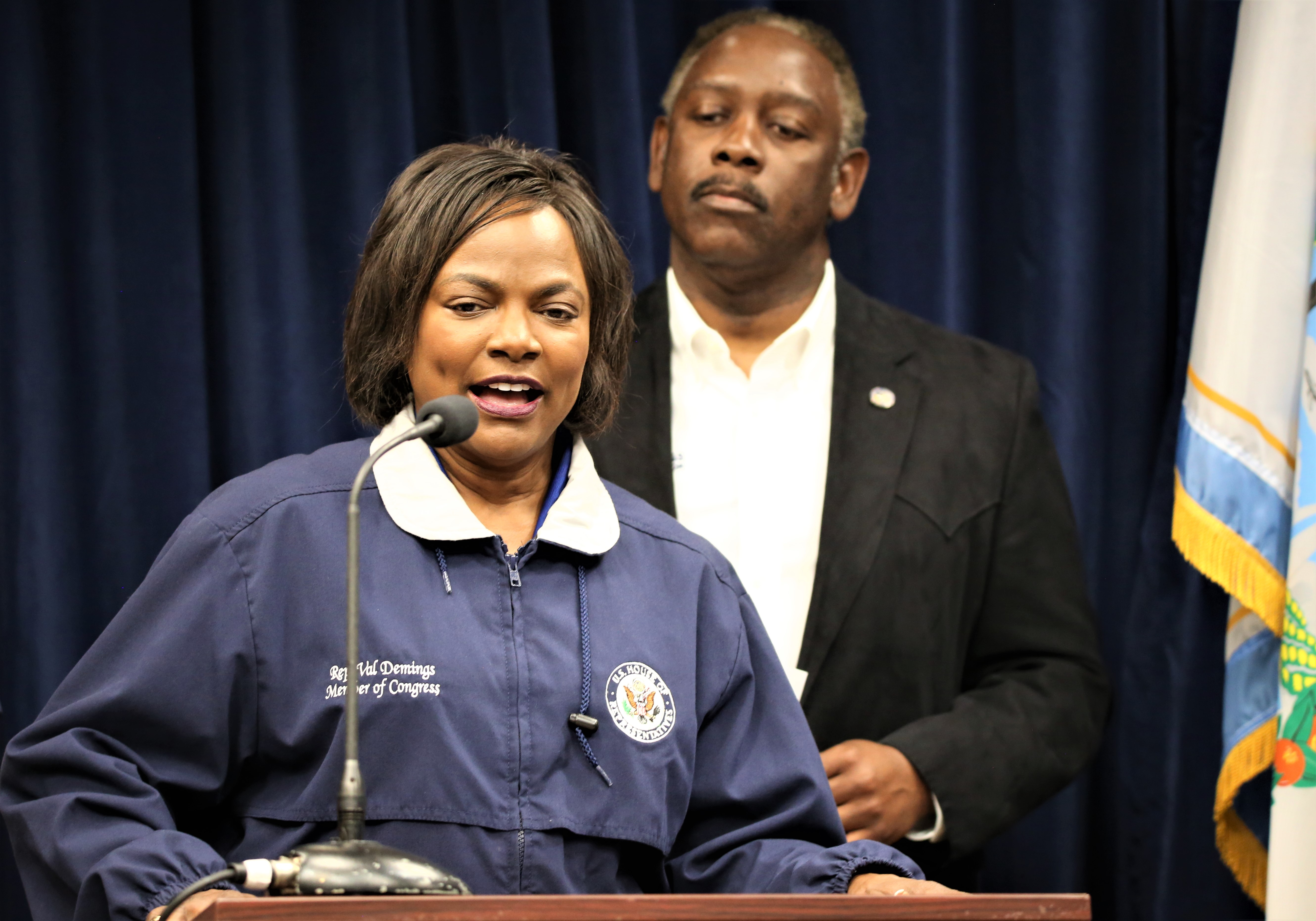 U.S. Representative Val Demings (D-10, Florida) spoke during Orange County Mayor Jerry Demings's COVID-19 press conference at Orange County Emergency Operations Center, providing an update about the House passing the Family First Coronavirus Act Saturday, March 14, 2020. Photo: Willie David/Florida National News.