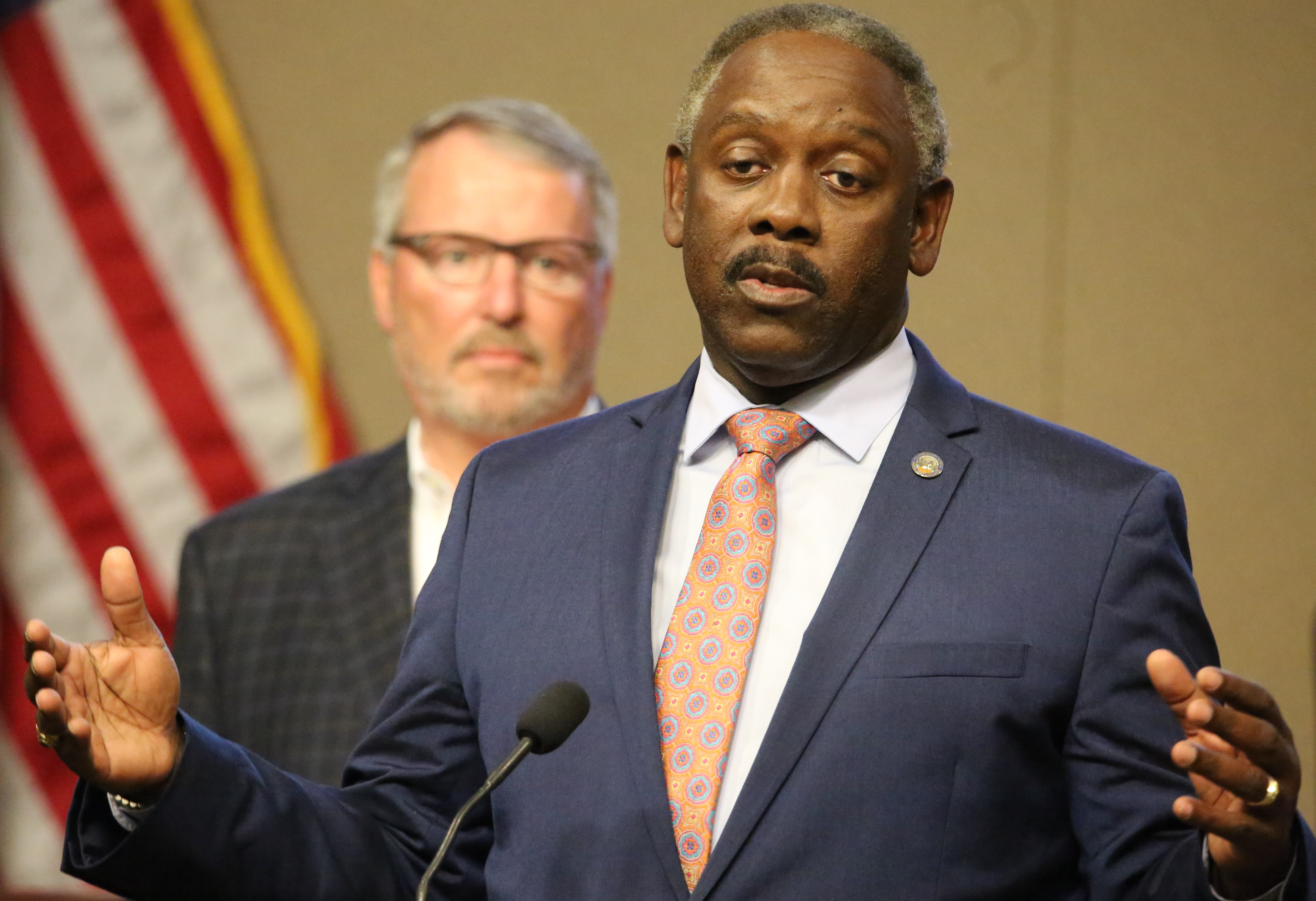 FILE - Orange County Mayor Jerry Demings press briefing on Stay-At-Home order announced at the Orange County Board of County Commission Chambers, Monday, March 24, 2020. (Florida National News file photo / Willie David)