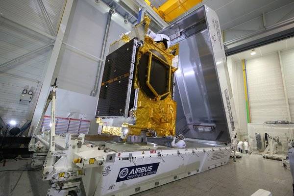 The ANASIS-II satellite, shipped from France to Florida in preparation of its flight to geostationary orbit. (Photo: NASA)