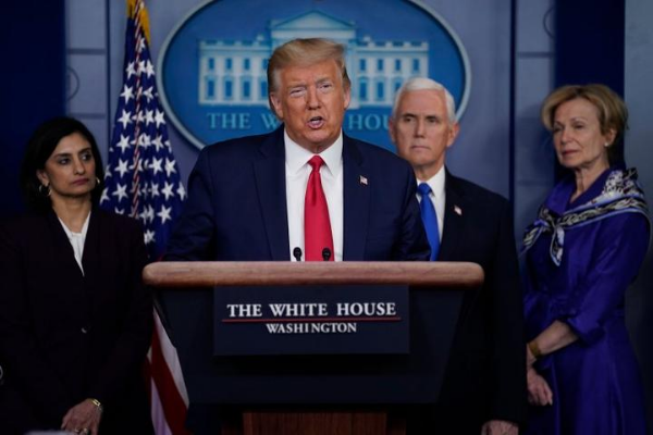President Trump talks with the press during a White House press briefing. Photo: AP.
