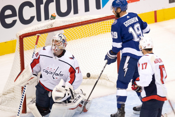 The Lightning rout the Capitals 3-2 in Red Robin play. Photo: AP.