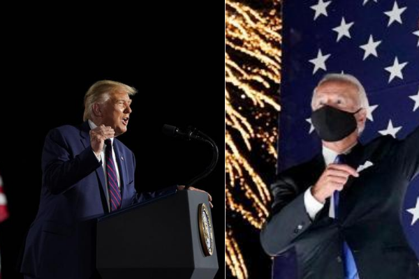 Left: President Donald Trump speaks at the 2020 Republican National Convention. At right, Joe Biden closes out th 2020 Democratic National Convention. Photos: AP.