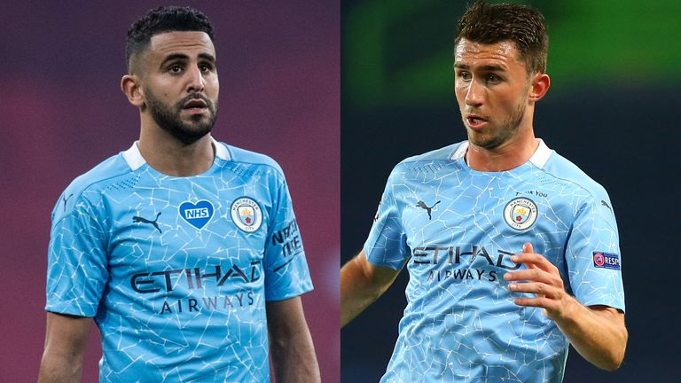 Manchester City players Riyad Mahrez and Aymeric Laporte have tested positive for COVID-19 but are asymptomatic. Image via Sky Sports.