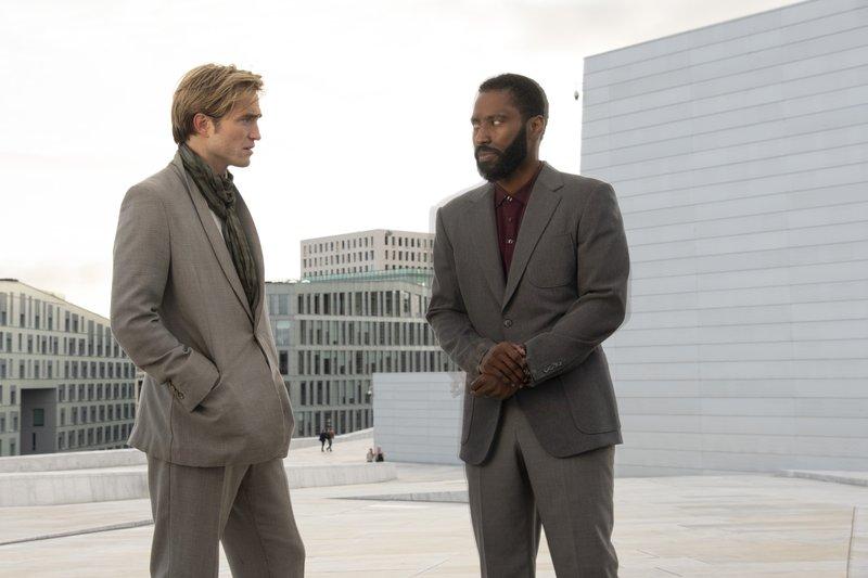 "(l-r) Robert Pattinson and John David Washington in Christopher Nolan's 2020 summer blockbuster ""Tenet"". Image: Warner Bros. Entertainment."