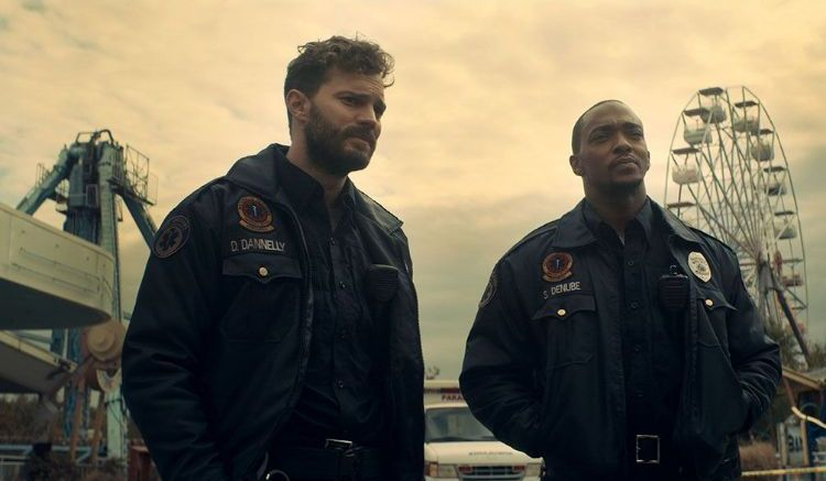 Jamie Dornan (left) and Anthony Mackie star in 'Synchronic'. Photo: Well GO USA Entertainment.