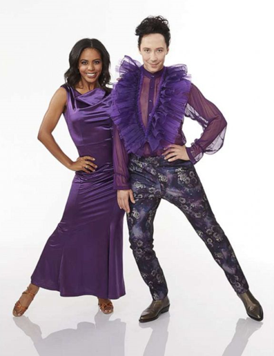 """""""Dancing with the Stars"""" first black pro dancer Britt Stewart (left) and her partner Olympic figure skater Johnny Weir advance to Semifinals next week. Photo: ABC."""