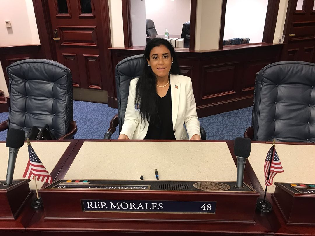 State Representative-elect Daisy Morales takes her new seat in the Florida House in anticipation of the Oath of Office Ceremony, which happens Tuesday, November 17, 2020. Photo: Daisy Morales (Facebook)