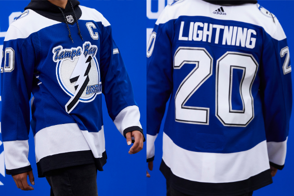 adidas' new Tampa Bay Lightning retro jersey. Photos: NHL / adidas. Collage: Florida National News