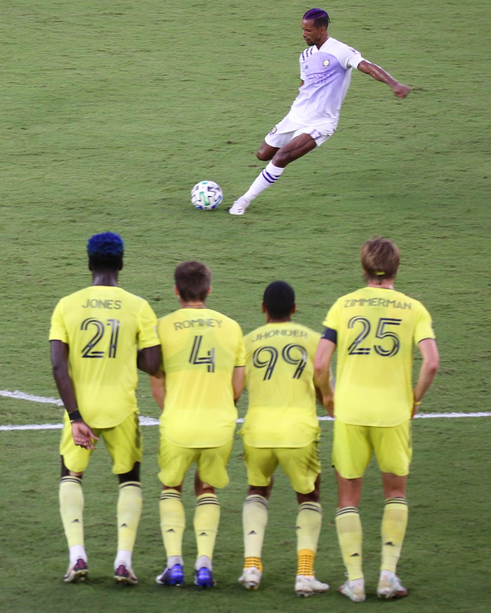 Orlando City SC midfielder Luis Nani makes a goal-winning free kick in the second half against Nashville SC Sunday night at Exploria Stadium. Photo: Mellissa Thomas/Florida National News.