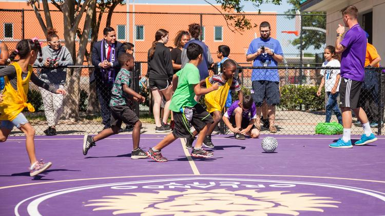Englewood youth soccer players train at Orlando City's facility. Photo: Orlando City Soccer Club.