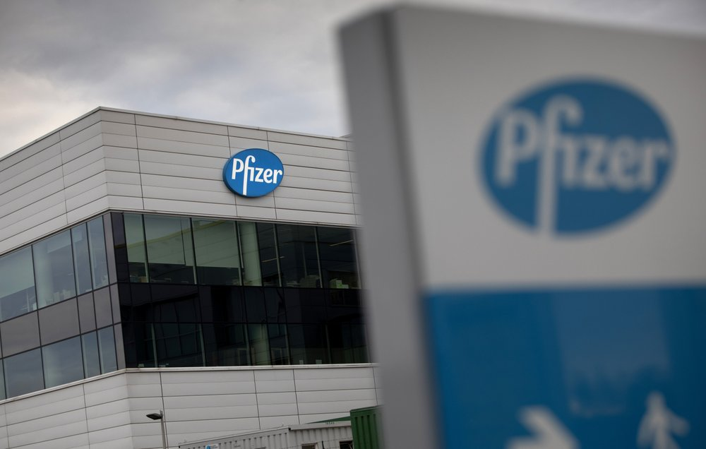 FILE - In this Nov. 9, 2020, file photo, a general view of Pfizer Manufacturing Belgium in Puurs, Belgium. Pfizer and BioNTech say they've won permission Wednesday, Dec. 2, 2020, for emergency use of their COVID-19 vaccine in Britain, the world's first coronavirus shot that's backed by rigorous science -- and a major step toward eventually ending the pandemic.(AP Photo/Virginia Mayo, File)