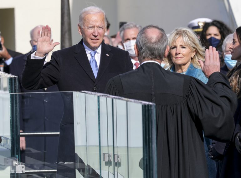 President Joe Biden takes the Oath of Office on January 20th, 2021. Photo: Sgt. Charlotte Carulli.