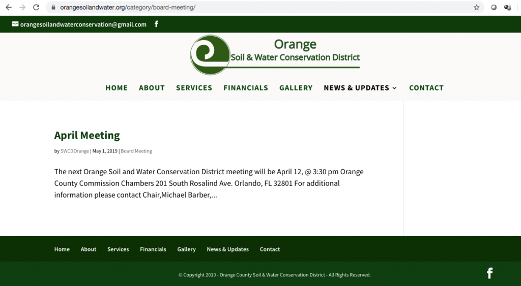 During the March 2019 board meeting, new Chair Michael Barber and the Board approved to have The Association of Florida Conservation Districts create a free website, orangesoilandwater.org (pictured), instead of using Supervisor Morales' paid website orangeswcd.com.
