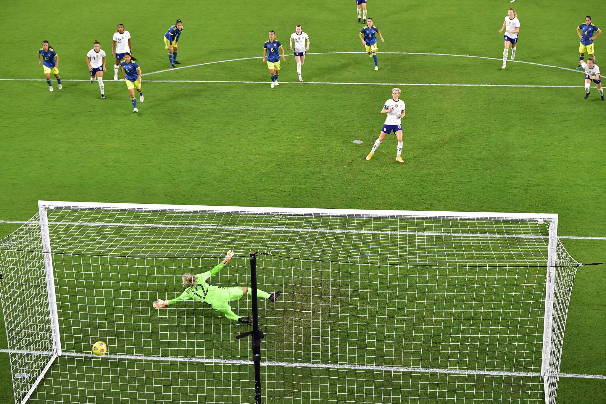 USWNT's Megan Rapinoe nails a goal against Colombia in their second friendly match at Exploria Stadium Friday, January 22, 2021. Photo: Harry Castiblanco/Florida National News.