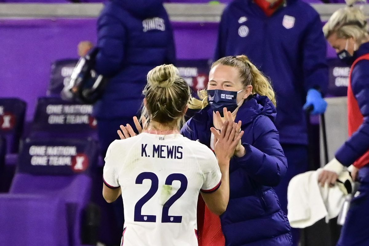 Mewis celebrates after scoring a goal against Colombia at Exploria Stadium January 18, 2021. Photo: Getty Images.