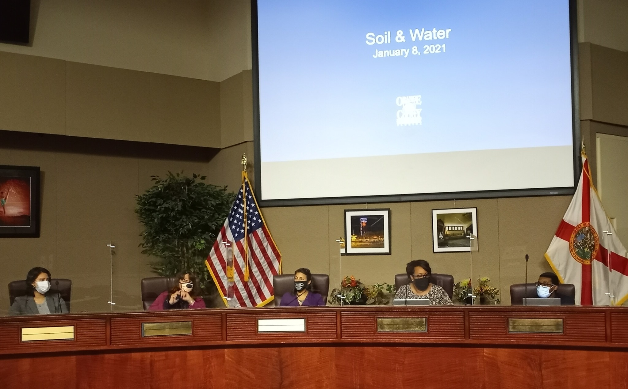 The newly sworn in Orange Soil and Water Conservation District Board held its first meeting Friday, January 8, 2021. (l-r): Supervisor Raquel Lozano (Seat 3), Supervisor Karolun Campbell (Seat 2), Supervisor Alaina Slife (Seat 5), incumbent Supervisor Dawn Curtis (Seat 4) and Supervisor Nathaniel Douglas (Seat 1). Photo: Willie David/Florida National News.